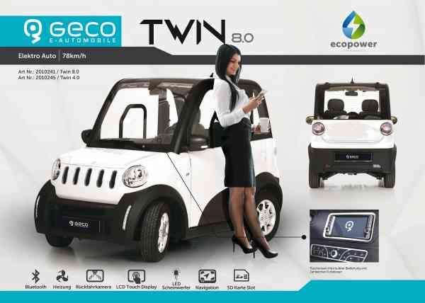 Elektroauto Geco TWIN 8.0, 7.5kW inkl. 72V100Ah Batterien Straßenzulassung max 78 km/h