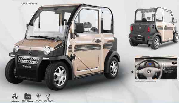 Elektroauto Geco Travel X4 4,5 kW inkl. Batterien, 45 km/h Mopedzulassung (kleines Kennzeichen)