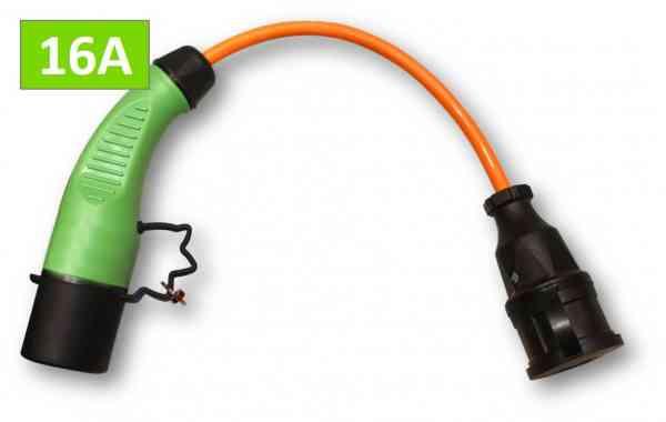 Ladesäulen Adapter-Ladekabel 16 A Typ 2 auf Schuko für alle E-Fahrzeuge mit Haushaltsstecker